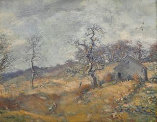 CHARLES HAROLD DAVIS, (American, 1856-1933), Landscape with Farmhouse, oil on canvas, 17 x 21 in., frame: 26 1/2 x 30 1/2 in.