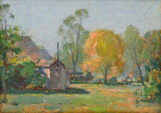 FRANK WESTON BENSON, Springtime View, oil on canvasboard, 10 x 13 1/2 in., frame: 16 1/2 x 20 in.