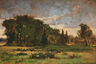 EDWARD MITCHELL BANNISTER, (Canadian/American, 1828-1901), Landscape, oil on artists board, 9 x 13 in., frame: 15 1/4 x 19 1/4 in.