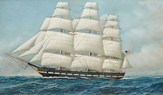 ANTONIO JACOBSEN, (American, 1850-1921), Helena, the Pioneer Clipper, 1919, oil on board, 18 x 30 in., frame: 25 1/2 x 37 1/2 in.