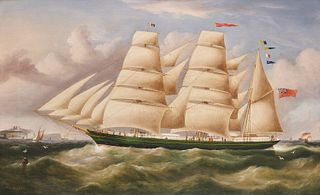 "ROBERT BALL SPENCER, (British, 1812-1897), British Clipper ""Ivanhoe"", oil on canvas, 19 x 31 in., frame: 25 x 37 in."