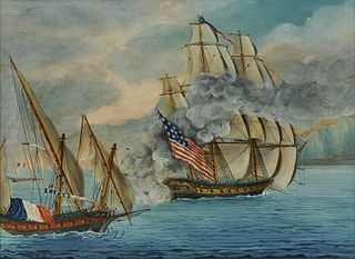"""Attributed to MICHELE FELICE CORNE, The Ship """"Mount Vernon"""" of Salem Engaging French Privateers, 1799, tempera on canvas, 18 x 24 in., frame: 21 3/4 x"""