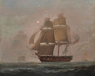 CHARLES HENRY SEAFORTH, (English, 1801- ca. 1872), The American Frigate Constitution Bearing Up and Making Sail on Discovery of an English Three-Decke