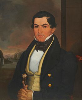 ISAAC SHEFFIELD, (American, 1798-1845), Self Portrait as a Sea Captain, oil on panel, 30 1/2 x 24 1/2 in., frame: 37 x 31 in.