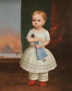 AMERICAN SCHOOL, (early/mid 19th century), Child with a Doll, oil on canvas, 36 x 29 in., frame: 41 x 34 in.