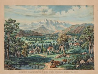 CURRIER & IVES , (American, 19th century), Mount Washington and the White Mountains from the Valley of Conway, hand colored lithograph, image: 14 3/4
