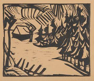ERICH HECKEL, (German, 1883-1970), Erzgebirgslandschaft, woodcut, plate: 10 1/4 x 12 1/2 in., frame: 27 1/2 x 22 1/2 in.