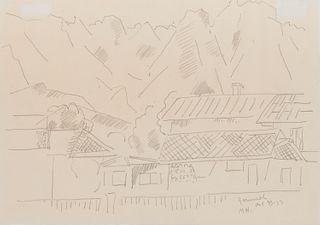 MARSDEN HARTLEY, (American, 1877-1943), Mountain Landscape, Garmisch-Partenkirchen, 1933, pencil on paper, 7 x 10 in., frame: 9 1/4 x 12 1/4 in.
