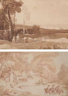 Two English Ink Washes, one by THOMAS ROWLANDSON, the other by WILLIAM TURNER OF OXFORD