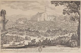 JACQUES CALLOT, (French, 1592-1635), Fair at Impruneta, etching, plate: 16 1/2 x 25 1/2 in., frame: 25 1/2 x 33 1/2 in.