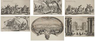 JACQUES CALLOT, (French, 1592-1635), Six Etchings: L'Eventail, Solimano, and four works from Les Bohemiens