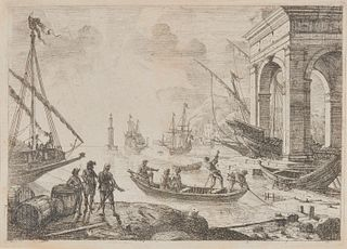 CLAUDE LORRAIN, (French, ca. 1600-1682), Le Port de Mer au fanal (Harbor Scene with Lighthouse), etching, sheet: 5 3/4 x 8 in., frame: 14 1/4 x 17 1/2