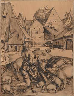 After ALBRECHT DURER, (German, 1471-1528), The Prodigal Son, engraving, image: 9 1/2 x 7 1/4 in., sheet: 10 1/4 x 7 3/4 in.