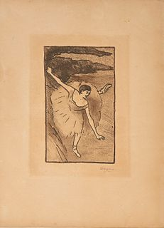 EDGAR DEGAS, (French, 1834-1917), Danseur sur scène, salutant (Dancer on Stage, Taking Her Bow), aquatint and etching, plate: 6 1/2 x 4 1/2 in., image