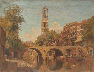 CORNELIS VREEDENBURGH, (Dutch, 1880-1946), Oudegracht Smeebrug, Utrech, 1926, oil on canvas, 20 x 25 3/4 in.