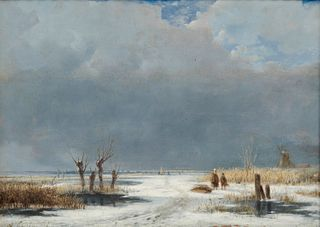 ANDREAS SCHELFHOUT, (Dutch, 1787-1870), Winterlandschaft, oil on panel, 9 x 12 in., frame: 15 x 18 in.