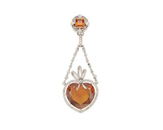 Platinum, Citrine, and Diamond Pendant/Brooch