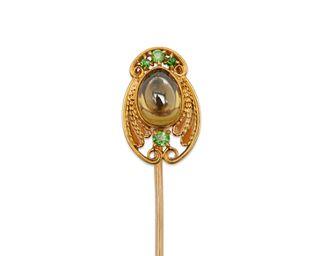 TIFFANY & CO. 18K Gold, Chrysoberyl, Plique-a-Jour, and Demantoid Garnet Stick Pin