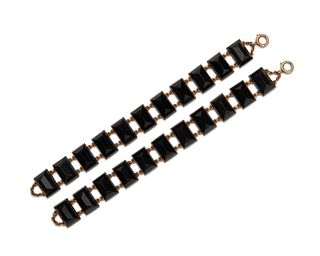 Pair of 14K Gold and Onyx Bracelets