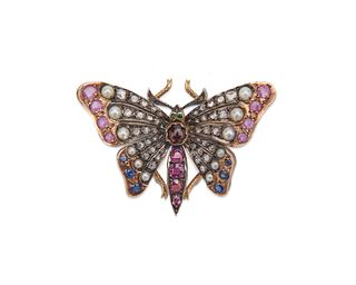 14K Gold, Silver, Diamond, Pearl, and Gemset Butterfly Brooch