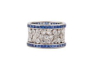 Platinum, Diamond, and Sapphire Ring