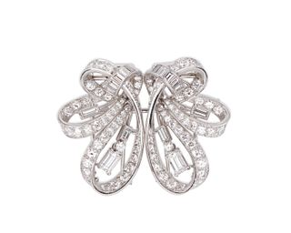 Platinum and Diamond Dress Clips/Brooch