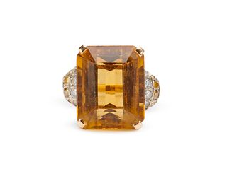 14K Gold, Citrine, Diamond, and Colored Diamond Ring