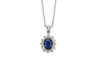18K Gold, Sapphire, and Diamond Pendant Necklace