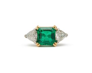 Platinum, 18K Gold, Emerald, and Diamond Ring