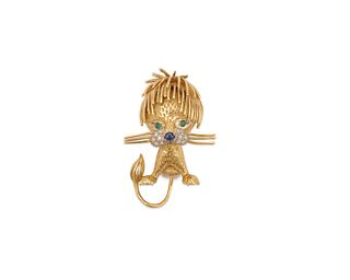 18K Gold, Diamond, and Gemset Lion Brooch