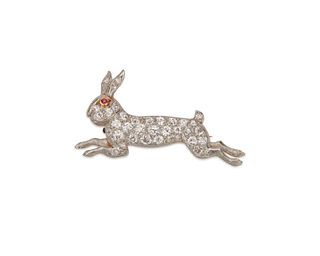 MARCUS & CO. 14K Gold, Platinum, and Diamond Rabbit Brooch