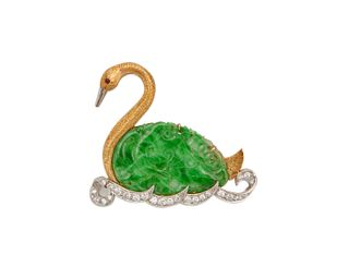 18K Gold, Platinum, Carved Jadeite, and Diamond Swan Brooch