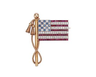 18K Gold, Platinum, Diamond, Sapphire, and Ruby American Flag Brooch