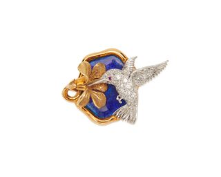 McTEIGUE 18K Gold, Platinum, Enamel, and Diamond Hummingbird Brooch