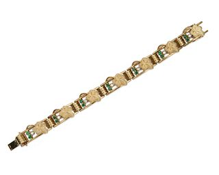14K Gold, Emerald, and Diamond Bracelet