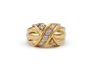 TIFFANY & CO. 18K Gold and Diamond Ring