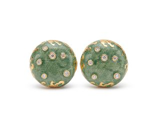 18K Gold, Enamel, and Diamond Earclips