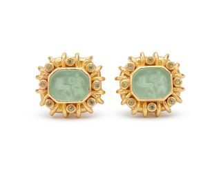 ELIZABETH LOCKE 18K Gold, Glass Intaglio, Mother-of-Pearl, and Peridot Earclips