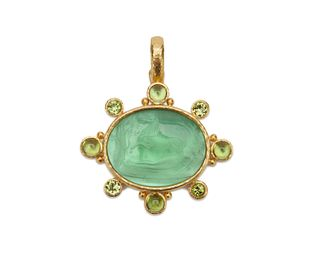 ELIZABETH LOCKE 18K Gold, Glass Intaglio, Mother-of-Pearl, and Peridot Pendant
