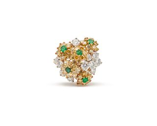 18K Gold, Platinum, Colored Diamond, Diamond, and Emerald Ring