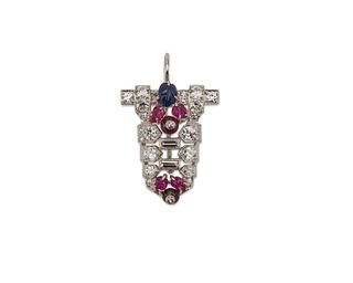 Platinum, Diamond, Ruby, and Sapphire Pendant