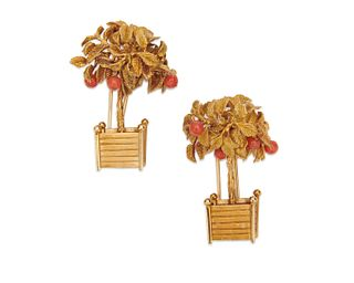 Pair of DIOR 18K Gold and Coral Brooches