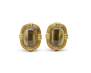 MING'S 18K Gold and Smoky Quartz Earclips
