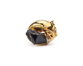 18K Gold, Onyx, and Diamond Ring