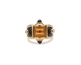 ROBERT WANDER 18K Gold, Onyx, and Citrine Ring