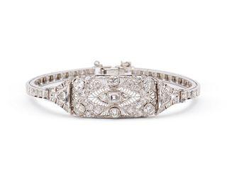 Platinum, 14K Gold, and Diamond Bracelet