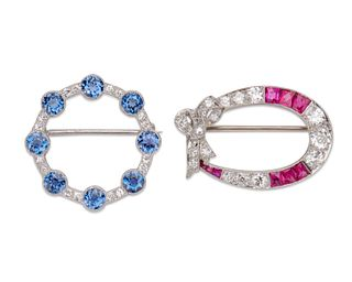 Two Platinum, Diamond, and Gemset Brooches