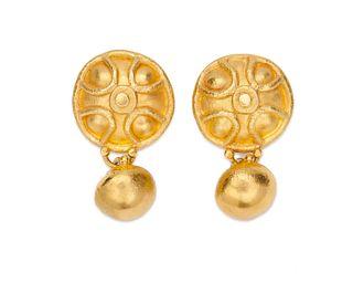 High Karat Gold Pendant Earclips
