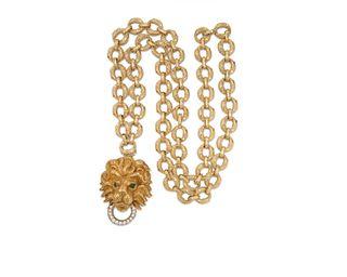 18K Gold and Diamond Lion's Head Pendant/Brooch Necklace/Bracelet