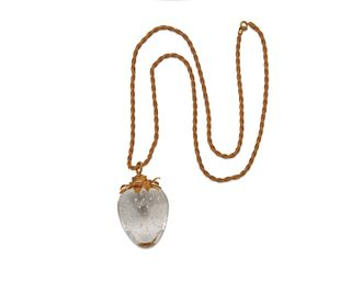 STEUBEN 14K Gold and Glass Strawberry Pendant